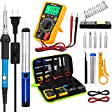 Soldering Iron Kit with Digital Multimeter, 60W 110V Soldering Kit with Switch ON/OFF, Soldering Iron Adjustable Temperature Controlled Including Soldering Gun/ Soldering Stand/ Solder Sucker/ Soldering Tips/ Screwdriver etc. Welding Tools For Circuit Board Repair and Electronic DIY