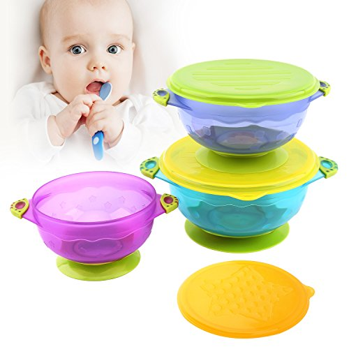 Ear Dish - Zooawa Baby Bowls with Suction Base, 3-PACK Nonslip Spill Proof Feeding Training Bowl Dinnerware with Seal Easy Lid for Babies, BPA-Free, for Over 6 Months Infants, Colorful