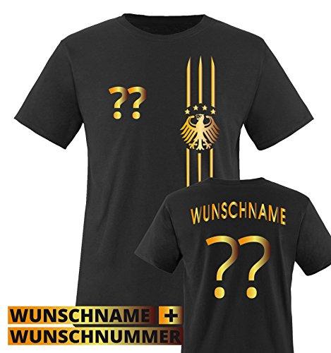 TRIKOT - MOTIV1 - DE - WUNSCHDRUCK - Kinder T-Shirt - Schwarz / Gold Gr. 134-146