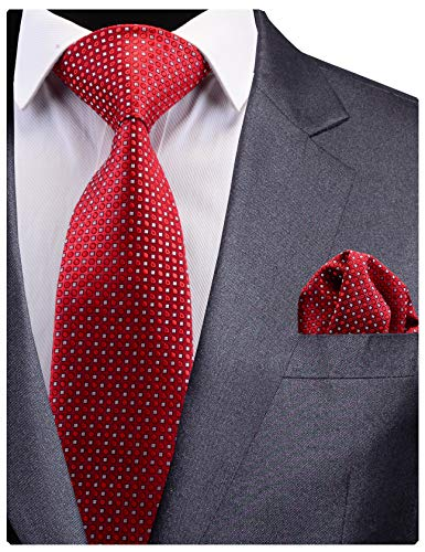 GUSLESON New Design Red Wedding Tie For Men Silk Dots Wedding Necktie and Pocket Square Set (0783-08)