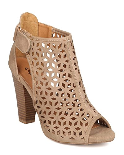 Qupid FD82 Women Nubuck Peep Toe Perforated Cut Out Chunky Heel Bootie - Stone