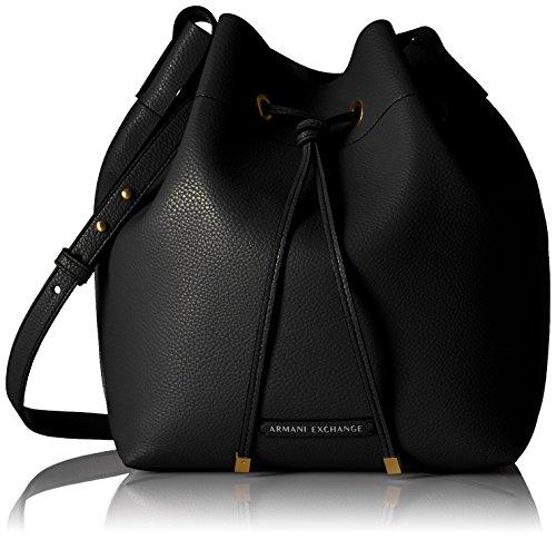 A|X Armani Exchange Pebble Pu Bucket Bag, Black