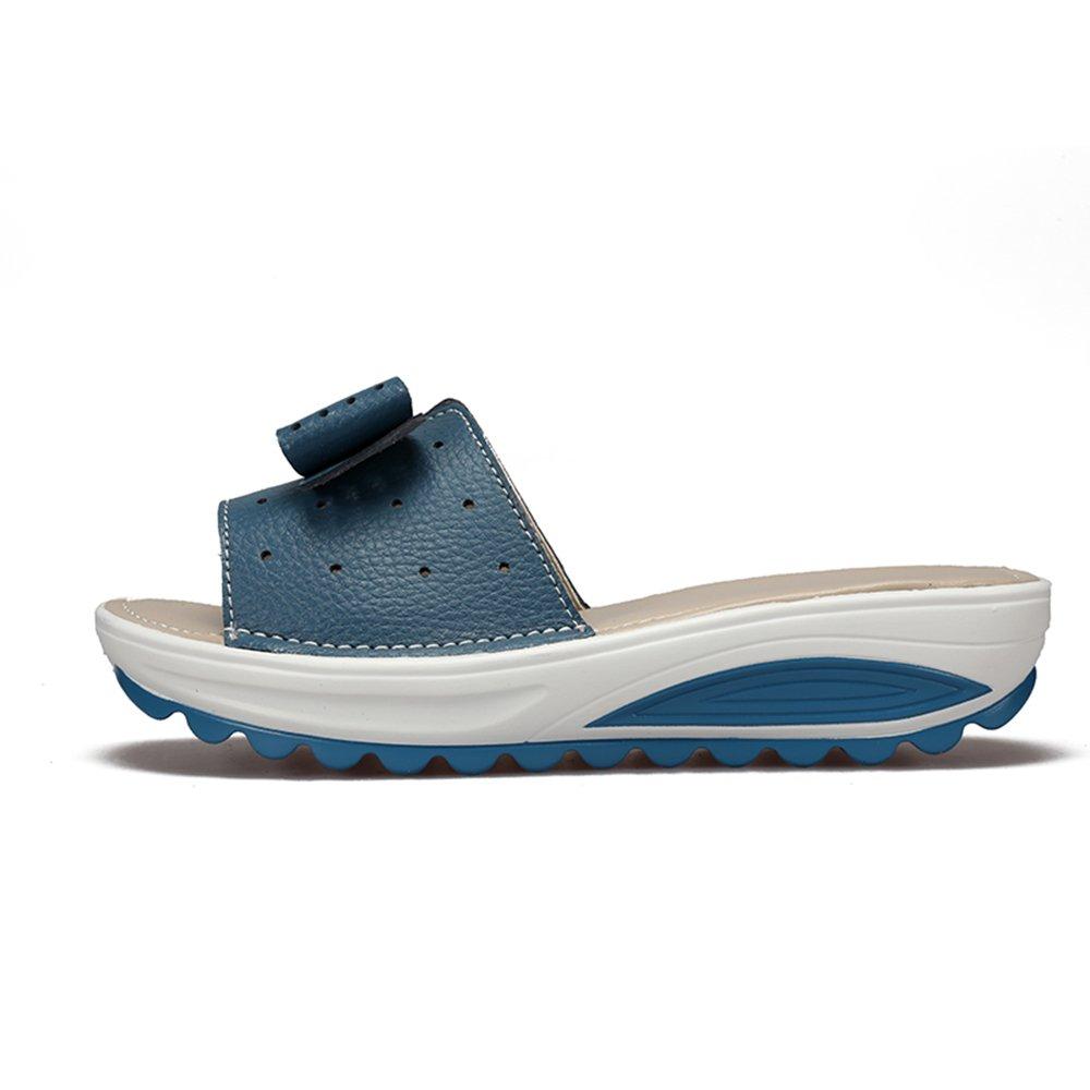 Oderola Platforms Women's Ladies Leather Sandals Platforms Oderola Flat Wedges Slides Open Toe Summer Slippers Sandals Size B07D58SLCC US5.5 = Size36 Blue aa6688