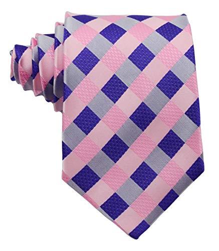 Scott Alone : New Classic Checks Jacquard Woven Silk Mens Tie Necktie (Pink)