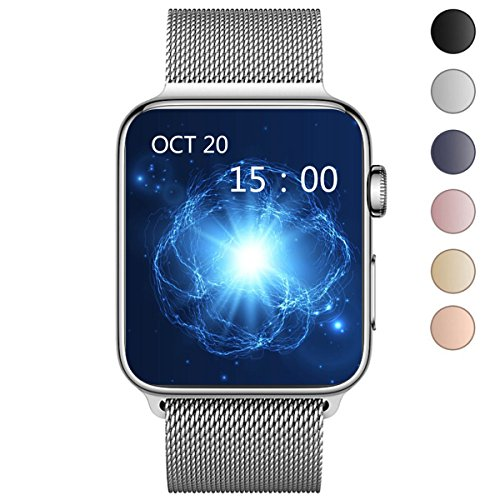 OROBAY For Watch Band 38mm, Stainless Steel Mesh Loop with Adjustable Magnetic Closure Replacement iWatch Band for Watch Series 3 Series 2 Series 1,Silver