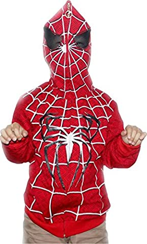 Boys'Full Face Character Hoodie Red Heright120 (Full Face Character Hoodie)