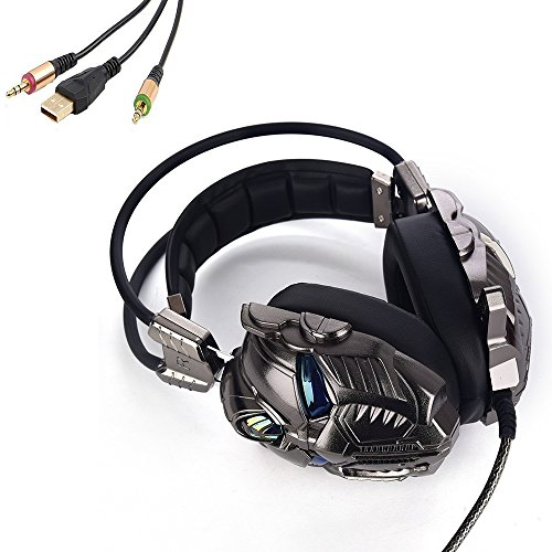 Price comparison product image KingBig PC Gaming Headset, Stereo Over-ear Headphones Wired LED Light Earphone with Mic Vibration Control
