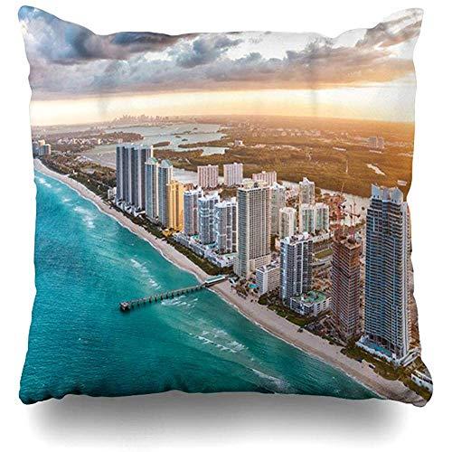 Throw Pillow Cover Cushion Case Square 18x18 Inch USA Blue City Miami Beach Dusk Aerial View District Parks Florida Skyline Above America American Skyscraper Home Decor]()