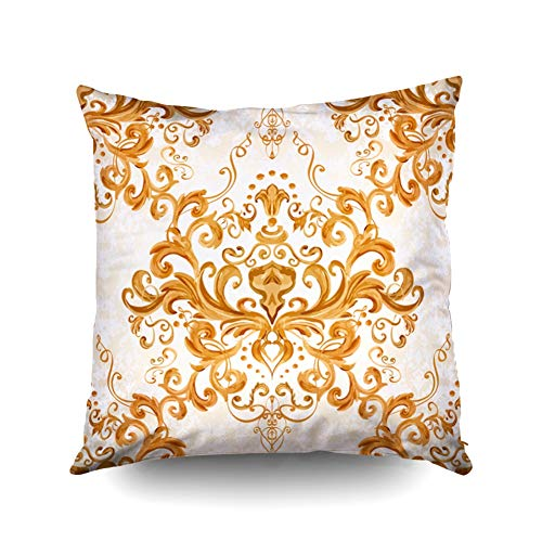Ivory Leaf Scroll Wallpaper - KIOAO Art Pillow Case,Square Throw Pillowcase Covers Standard Illustration Luxury Texture for Wallpapers Fabric Patterns Baroque Damask Floral Pattern Printed with Both Sides 20X20Inch,White Ivory