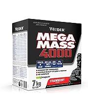 Weider Mega Mass 4000 Weight Gainer Shake, met Eiwitten en Creatine, Spieropbouw, Aardbeien Smaak, 7 kg