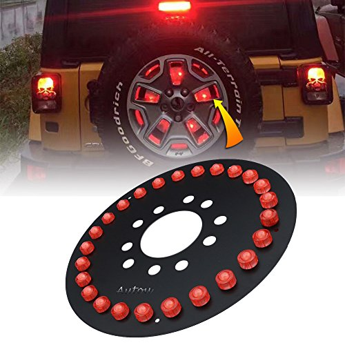 Autou Spare Tire Light LED Third Brake Lights for Jeep Wrangler 1986-2017