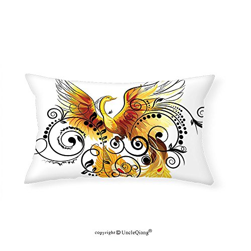VROSELV Custom pillowcasesAnimal Mystic Bird Phoenix Floral Ivy Leaves with Wings Feathers Print Image for Bedroom Living Room Dorm Yellow White Black Brown(14''x24'') by VROSELV