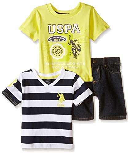 Embroidered Print Rugby (U.S. Polo Assn. Baby Boys' Rugby Striped and Graphic Print T-Shirts and Denim Short, Neon Yellow, 6-9 Months)