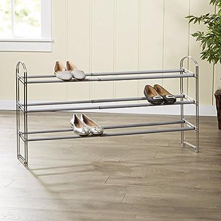 f304e1e7ab4 Wayfair Basics Expandable 3-Tier Shoe Rack  Amazon.co.uk  Kitchen   Home