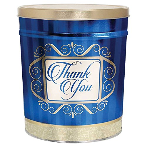 Tin Birthday Popcorn (Gourmet Thank You Popcorn Tin, Original Gourmet White)