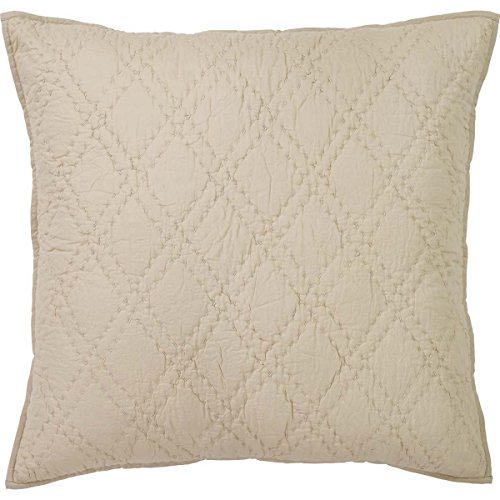 VHC Brands Farmhouse Bedding-Casey Grey Euro Sham, Taupe (Pillow Quilted Shams Euro 3)
