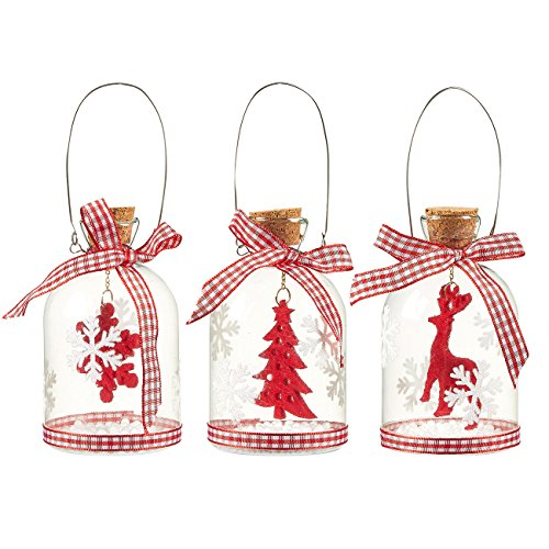 3-Pack of Christmas Tree Decorations - Hanging Glass Decorations with Steel Handles, Ornate Christmas Ornaments, Festive Felt Embellishments, 3 Assorted Designs, Red - 2.38 x 3.94 x 2.38 Inches