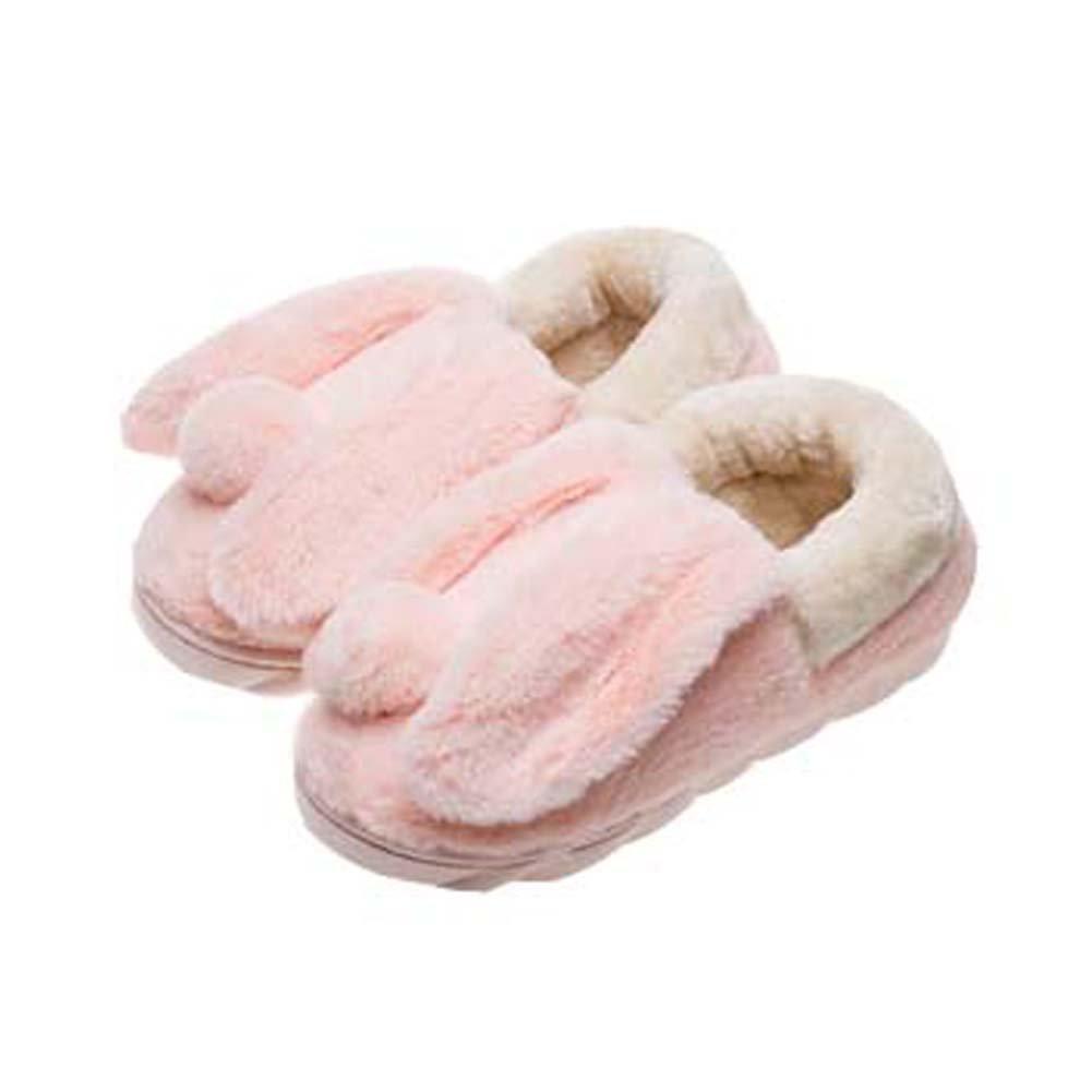 Cute Cartoon Rabbit Peluche Chaussons Winter Chaud Pantoufles Indoor pour les femmes, rose Blancho Bedding