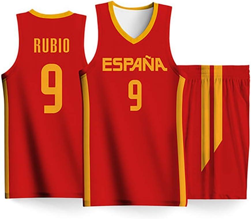 Conjunto Camiseta De Baloncesto para Hombres-2019 Copa del Mundo Selección Nacional España NO.9 Ricky Rubio Fans Tops + Shorts Mangas Transpirable Secado Rápido,Rojo,2XS:160cm/45~55kg: Amazon.es: Hogar