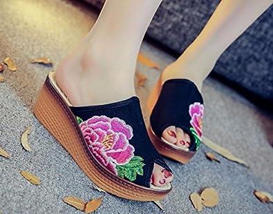 KAFEI Weibliche Stickerei Schuhe Cool Erhöhen Fisch Mund Leinwand Ziehen, Freizeitaktivitäten, Blau, 37