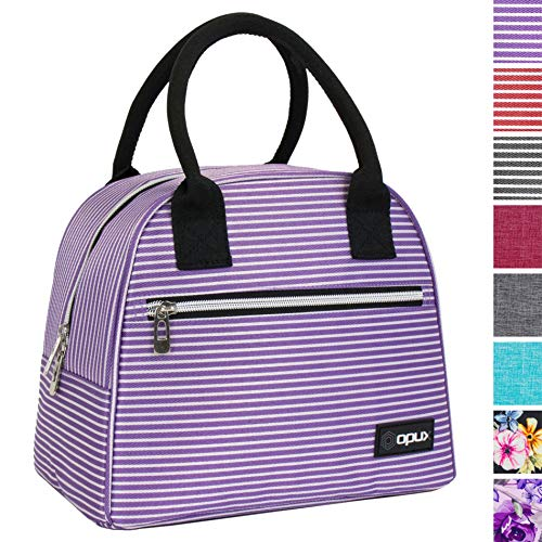 OPUX Lunch Bag for Women | Insulated Lunch Tote for Ladies, Girls, Female | Medium Reusable Soft Lunch Box Purse Cooler for School, Work, Office | Fits 12 Cans (Purple White Stripes)