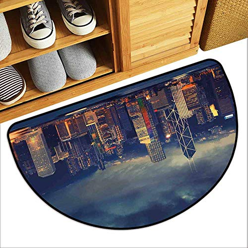 YOFUHOME Cityscape Antibacterial Doormat Hong Kong Cityscape Stormy Weather Dark Cloudy Sky Waterfront Port Dramatic View Mildew Proof W31 x L19 Navy -
