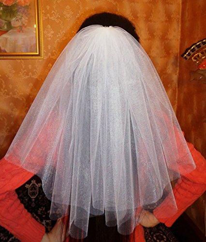 White Bachelorette party Veil 2-tier, middle length. Bride veil, accessory, bachelorette veil, wedding veil, hens party veil by Julsera Boutique