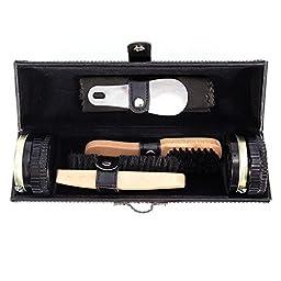 Magicfly Shoes Polish Kit-9Pcs Shoe Shine Care kit Neutral with Elegant PU Leather Compact Case