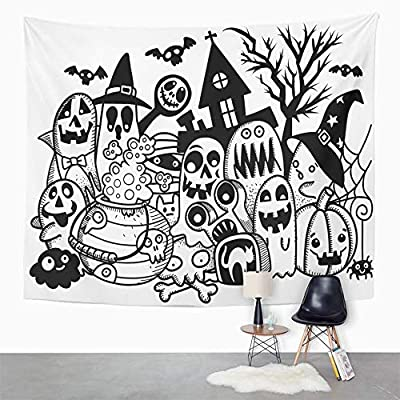 Emvency Tapestry Artwork Wall Hanging Kids of Cute Halloween Doodles Party Animals Autumn Bat Black Bottle Broom 50x60 Inches Tapestries Mattress Tablecloth Curtain Home Decor Print