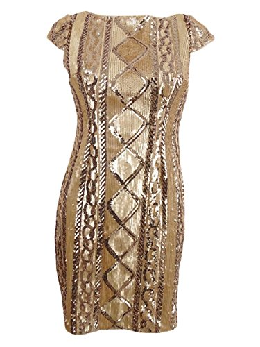 - Adrianna Papell Women's Petite Sequined Sheath Dress Gold 10P
