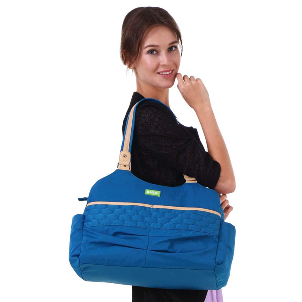 おむつバッグバックパック多機能旅行バックパック赤ちゃんの絶縁ポケット付き大容量多機能バックパックオーガナイザー(赤/青&オレンジ) 旅行用ハンドバッグ (色 : 青)  青 B07QSQCMTJ