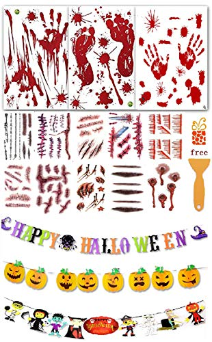 Horror Bloody Handprints&Footprints Stickers with one Plastic Scraper,Temporary Tattoos, Ucio Temporary Tattoos,Fake Scars Tattoos and Decorations-Happy, Halloween Banner for Halloween Party Supplies