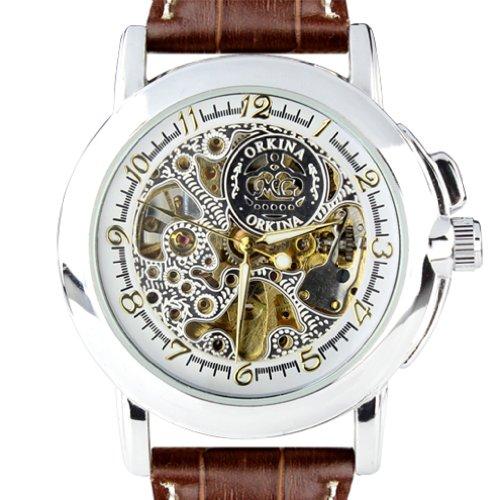 Mens Mechanical Brown Leather - Orkina Men Silver Case Skeleton Dial Mechanical Brown Leather Band Wrist Watch