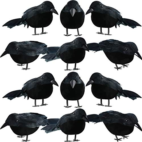 12 Pieces Halloween Black Feathered Small Crows Black Birds Ravens Props Decor Realistic Looking Halloween Decoration ()