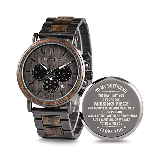 Engraved Personalized Wooden Watch for Boyfriend My Man Fiancé Husband Customized Wooden Watches for Men Personalized Watch (B-for-Boyfriend)