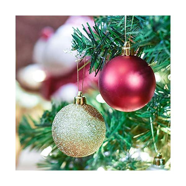 Valery Madelyn Palle di Natale 60 Pezzi di Palline di Natale, 3-5 cm di Lusso Rosso e Oro Infrangibile Ornamenti di Palla di Natale Decorazione per la Decorazione Dell'Albero di Natale 4 spesavip