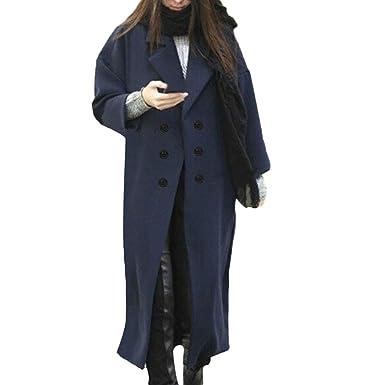 Logobeing Abrigo Invierno Mujer Chaqueta Jersey Cardigan Talla Grande Mujer Camisetas Mujer Manga Larga Abrigo de Lana de Solapa Botón Trench Chaqueta ...