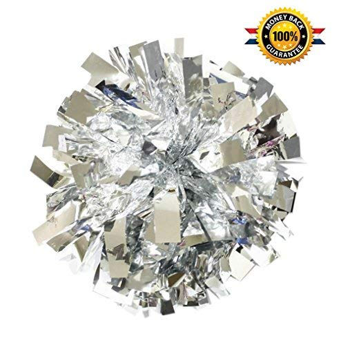 BCLAND Cheerleading Metallic Foil & Plastic Ring Pom Poms Cheerleading Poms pack of 2 (silver)