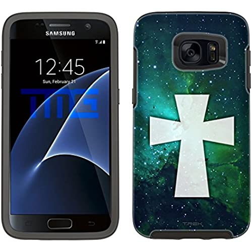 Skin Decal for Otterbox Symmetry Samsung Galaxy S7 Edge Case - Maltese Cross on Nebula Green Sales