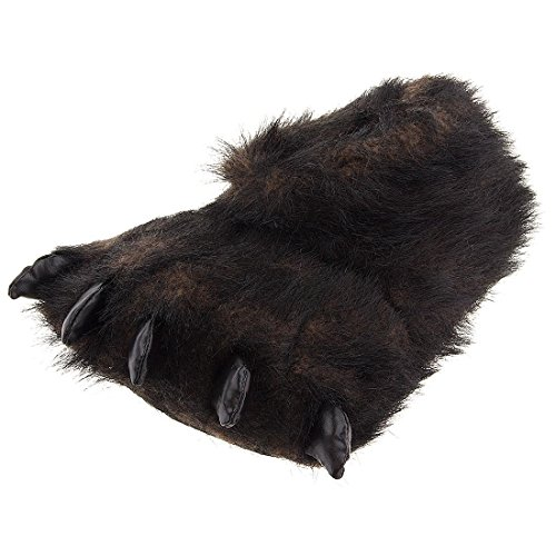 Fuzzy Black Bear Paw Slippers for Men and Women Large ()