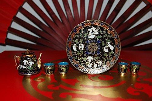 Jademarket Hongkong Home Decorative Cloisonne Mini Panda Tea Set