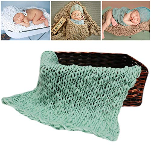 (M&G House Newborn Wrap Baby Photography Wool Wrap Baby Photo Props Baskets Filler Rug Light Green)