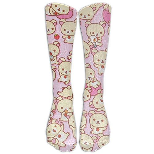 Bear-kawaii-pink Socks Women & Men, Casual Design Candy Cotton Stockings