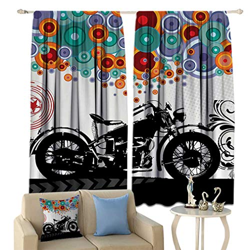 Manly Decor Curtains, Motorcycle and Abstract Circle Shapes Ornament Urban Modern Life Clubs Party Window Drapes for Bedroom 2 Panels Set, 108'' W x 84'' L