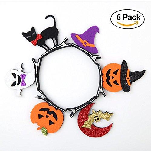 Halloween Pumpkin Witch Bat Hair Bands Hairpin Clips Accessories for Kids 6 Pack
