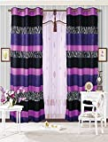 Fancy Collection 2 Panel Curtain With Grommet Stripped Zebra Print Purple Black White New