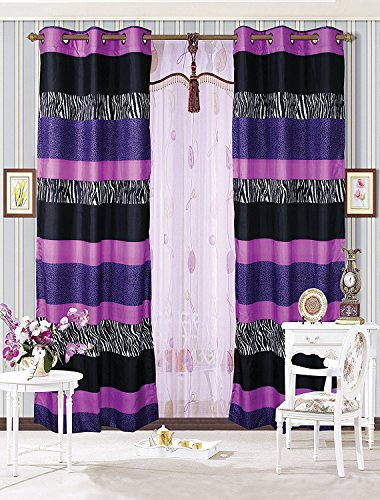 Fancy Collection 2 Panel Curtain with Grommet Stripped Zebra Print Purple Black White -