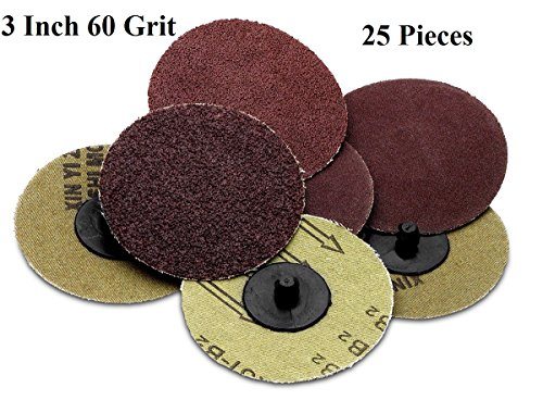 Roloc sanding Disc – 25 Piece Set of Heavy Duty and Durable 3 inches 60 Grits Sander - Automotive, Tools & Equipment, Body Repair Tool - By (Metal Sandpaper Holder)