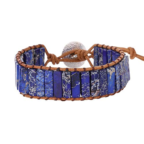 IUNIQUEEN Multiple Style Natural Stone Tube Bead Wrap Wrist Adjustable Handmade Bracelet for Women (Blue Imperial Jasper) ()