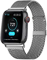 KOUUNN Compatible for Apple Watch Band 38mm 40mm 42mm 44mm, Stainless Steel Mesh Sport Wristband Loop with Adjustable...